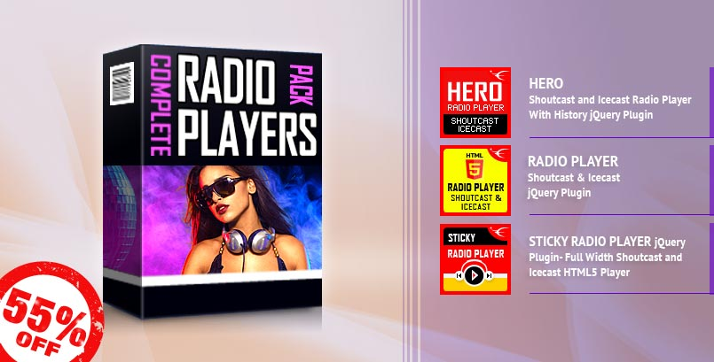 IceCast and ShoutCast HTML5 Radio Player jQuery Plugins Bundle 55% Discount