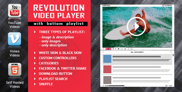 ---- Revolution Video Player With Bottom Playlist WP Plugin ----