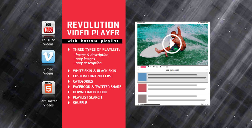 Revolution Bottom Playlist HTML5 Video Player jQuery Plugin