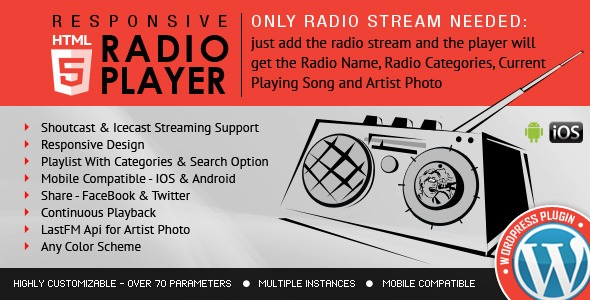 Radio Player WordPress - Shoutcast & Icecast