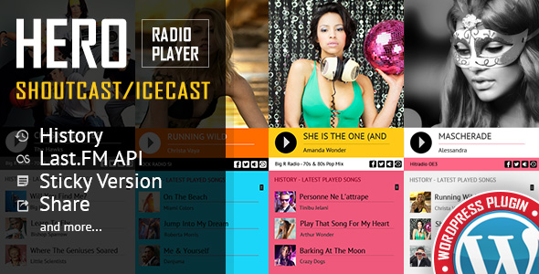 Hero - Shoutcast Icecast Radio Player With History - WordPress Plugin