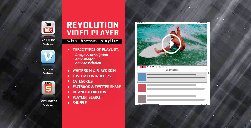 Revolution Bottom Playlist WordPress Video Player