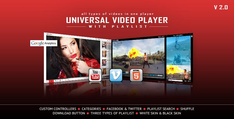 Universal HTML5 Video Player YouTUBE Vimeo Self-Hosted