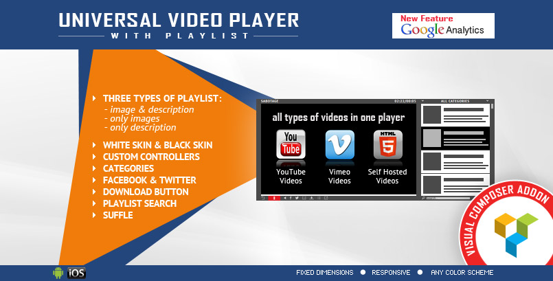 Universal WordPress Video Player VC Addon