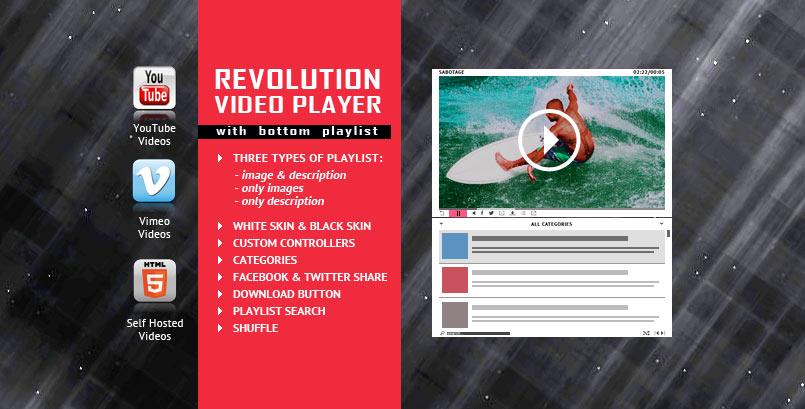 Revolution Bottom Playlist HTML5 Video Player jQuery Plugin
