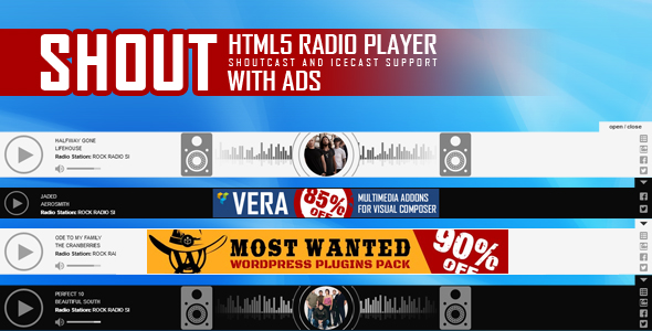 SHOUT - Sticky HTML5 Radio Player With Ads - ShoutCast and IceCast Support